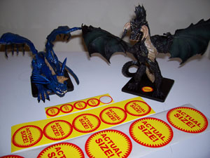 Gargantuan Blue and Black Dragons and Stickers - Small